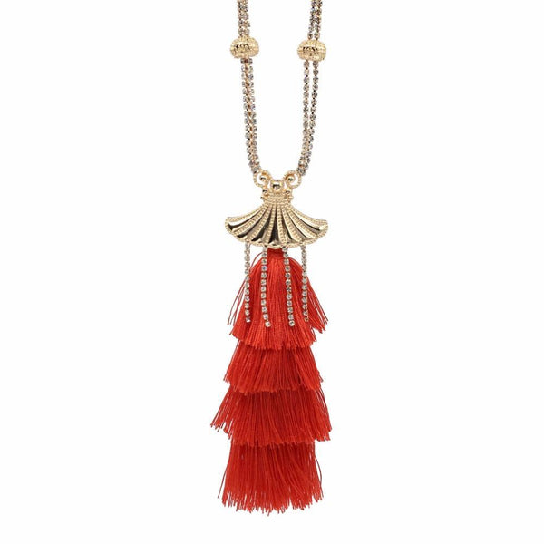 necklace Rhinestones Long Tassels Cotton Choker Necklace LoxLux Jewelry