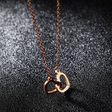 Rose Gold Color Double Heart Shape Chain Necklace - necklace - LoxLux Jewelry