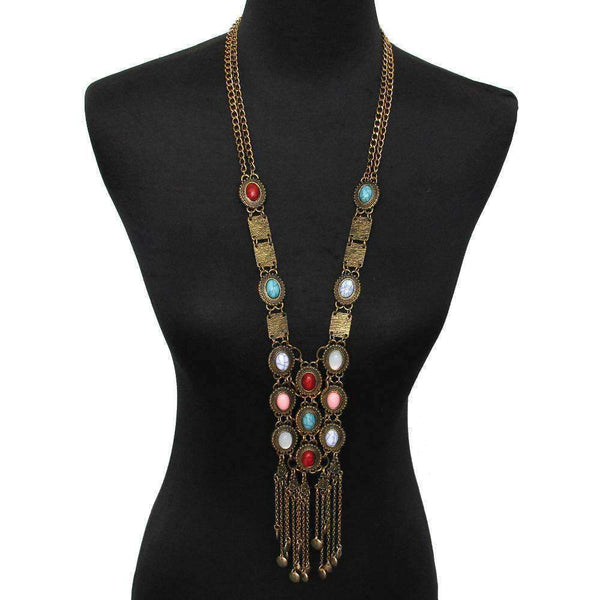 necklace Trendy Antique Long Multi-Color Faux Stone Necklace LoxLux Jewelry