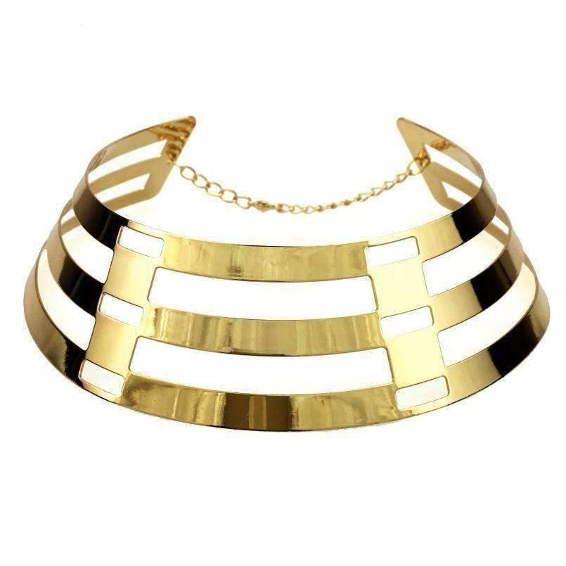 Trendy Arc Hollow Metal Big Torque Choker Necklace - LoxLux Jewelry