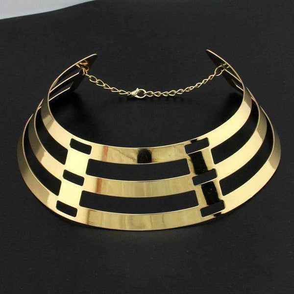 necklace Trendy Arc Hollow Metal Big Torque Choker Necklace LoxLux Jewelry