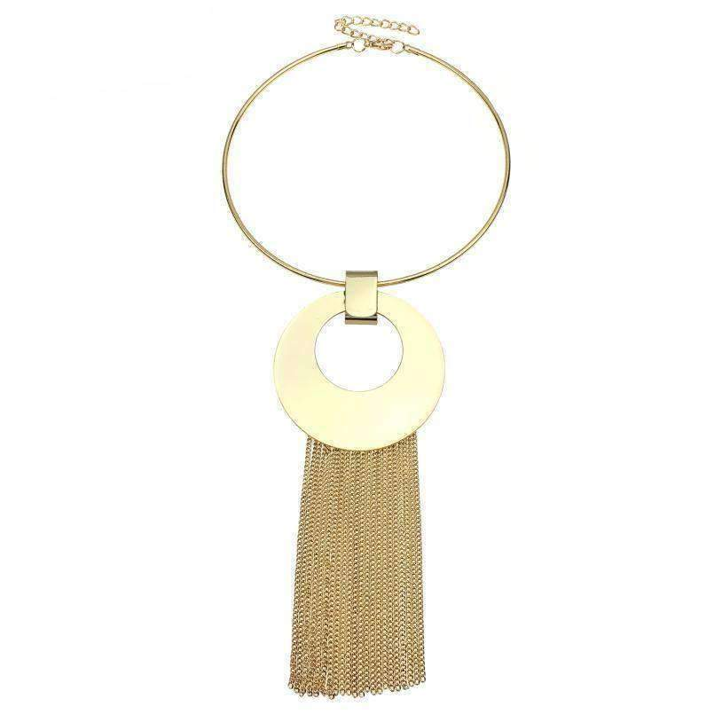 Trendy Maxi Choker Long Tassel Chain Pendant Necklace - LoxLux Jewelry