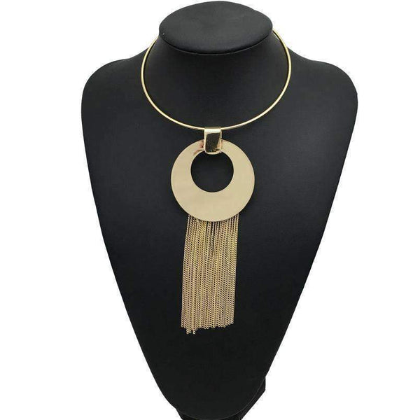 Trendy Maxi Choker  Long Tassel Chain Pendant Necklace - necklace - LoxLux Jewelry