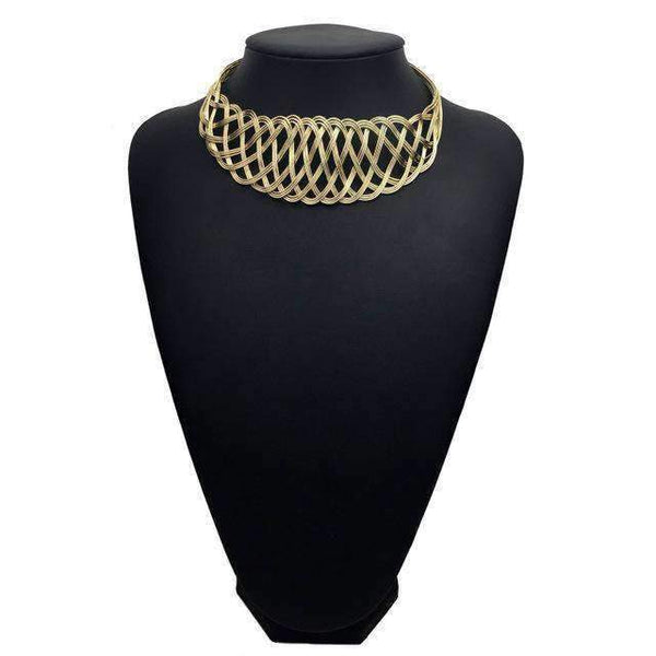 necklace Trendy Metal Wire Weave Wide Maxi Choker Necklace LoxLux Jewelry