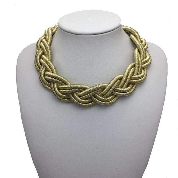 Twisted Braid Statement Necklace - necklace - LoxLux Jewelry