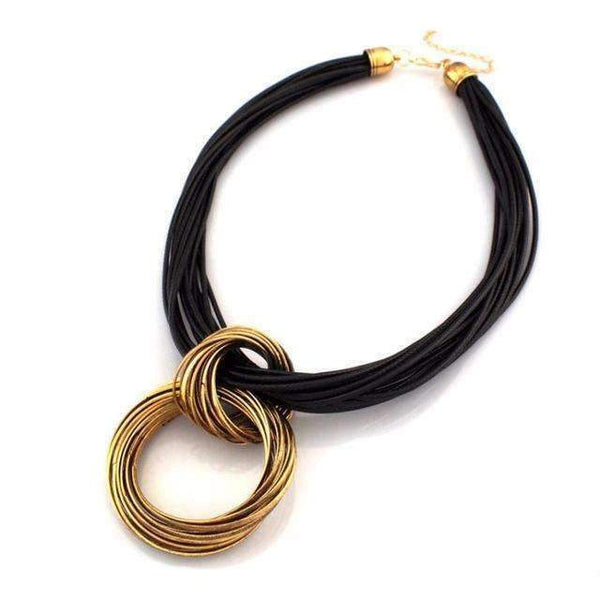 Vintage Circle Pendant Black Leather Chain Necklace - necklace - LoxLux Jewelry