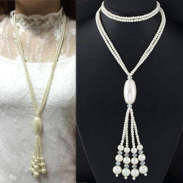 Vintage Tassel Imitation Pearl Fashion Necklace - necklace - LoxLux Jewelry