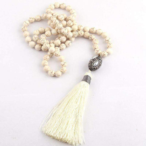 necklace White Stone Boho Oval Pearl Crystal Long White Tassel Necklace LoxLux Jewelry