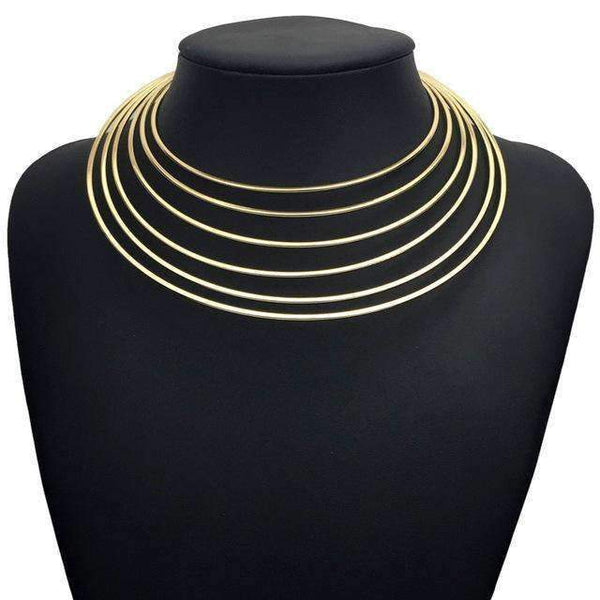 necklace Wide Metal Layered Choker Maxi Collar Necklace LoxLux Jewelry