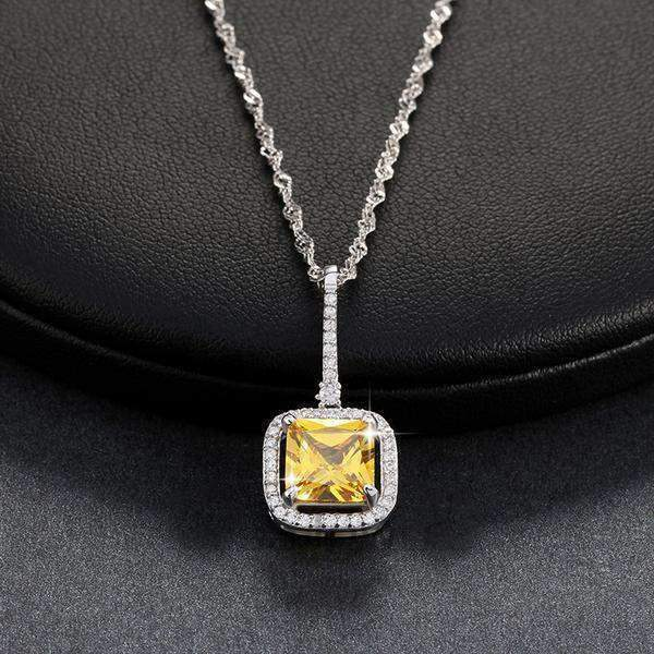 necklace Yellow Zircon Cubic Zirconia 2.5 ct Square Pendant Necklace LoxLux Jewelry