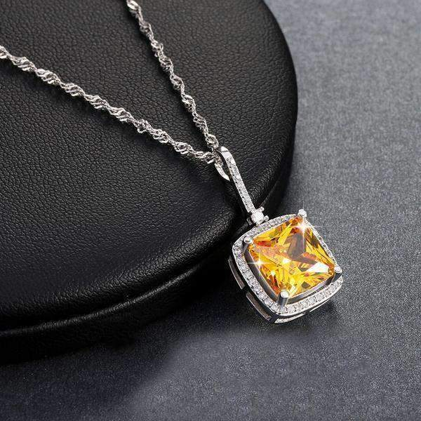 necklace Yellow Zircon Cubic Zirconia Princess Cut 5 ct Pendant Necklace LoxLux Jewelry