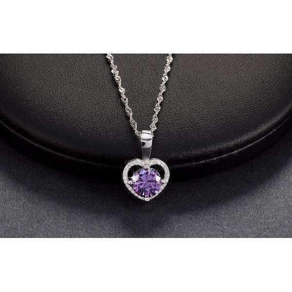 necklace Zircon and Cubic Zirconia 2 ct Heart Necklace LoxLux Jewelry