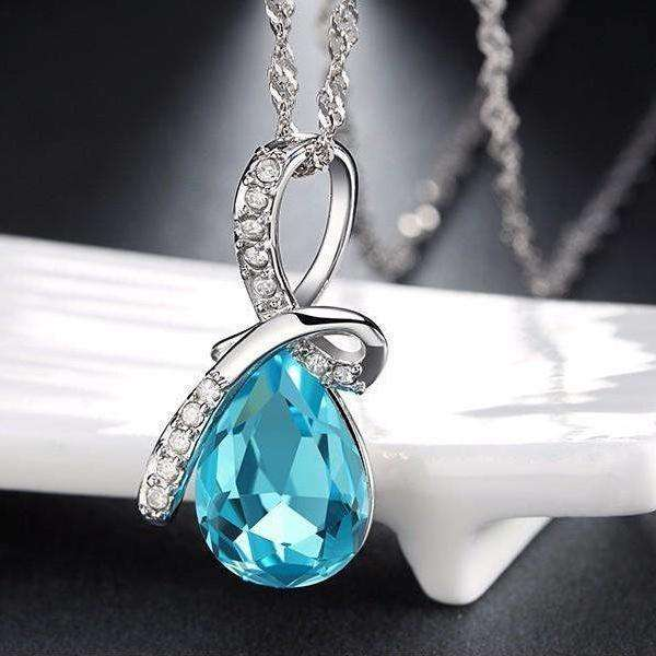 Blue Zircon Cubic Zirconia Luxury Water Drop Crystal Pendant Necklace - necklace - LoxLux Jewelry