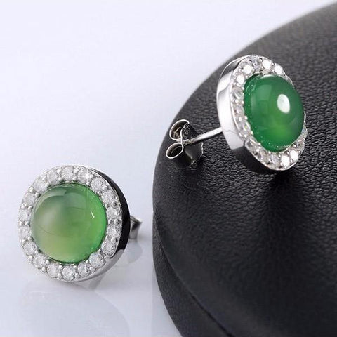 Cubic Zirconia Green Emerald Colored Agate Crystal Stud Earrings - Earrings - LoxLux Jewelry