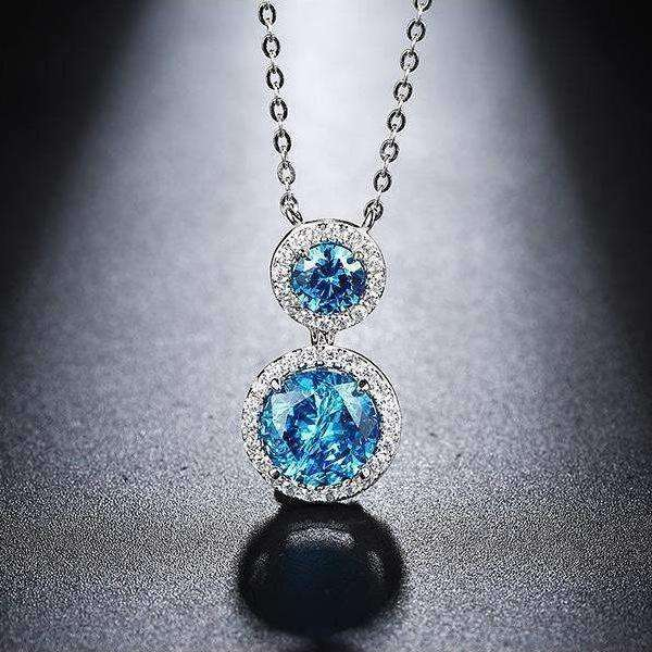 Blue Zircon Cubic Zirconia Brilliant Blue Pendant Necklace - necklace - LoxLux Jewelry