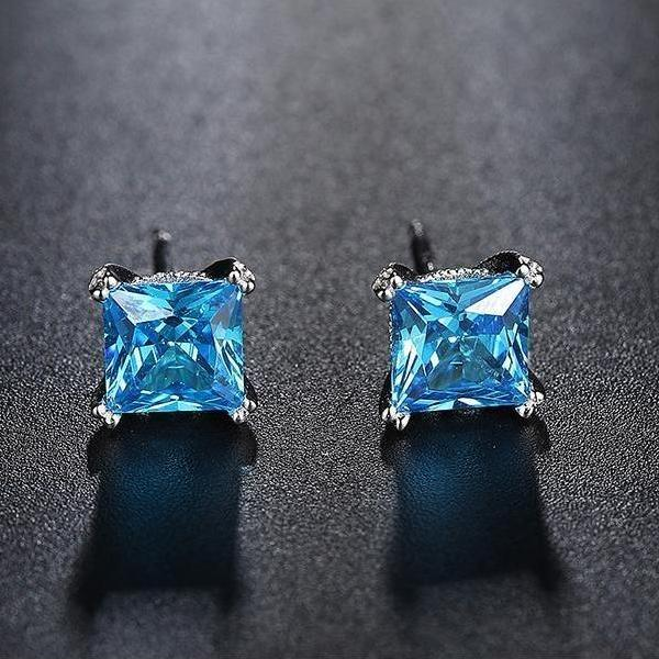 Blue Zircon 1.2 ct Stud Earrings - Earrings - LoxLux Jewelry