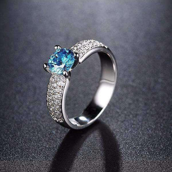 Blue Zircon Cubic Zirconia 0.8 Carat Round Ocean Blue Ring - Ring - LoxLux Jewelry