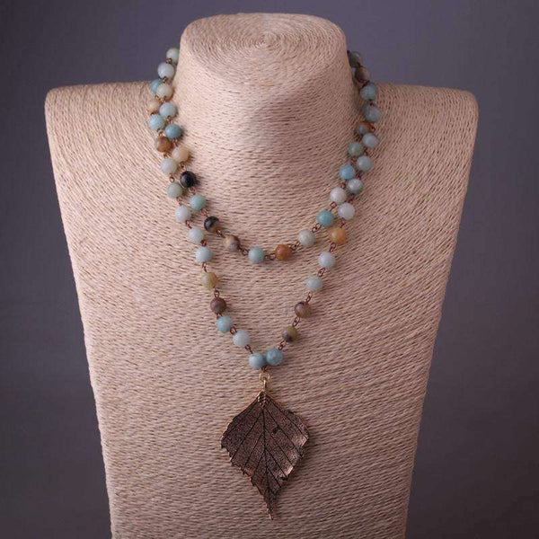 Amazonite Natural Stone Chain Leaf Pendant Necklace - necklace - LoxLux Jewelry