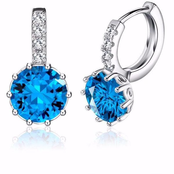 Blue Zircon Cubic Zirconia Stud Drop Earrings - Earrings - LoxLux Jewelry