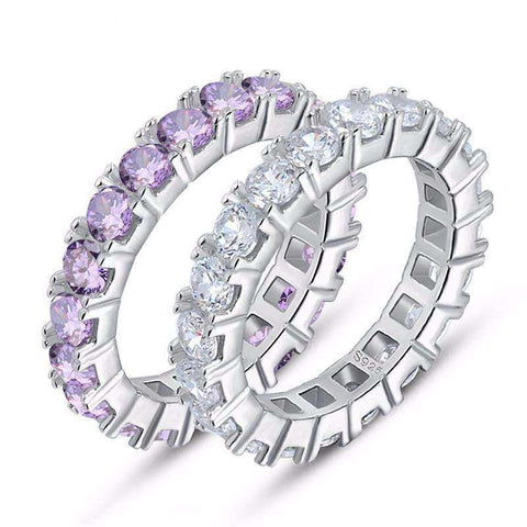 Cubic Zirconia Purple/Clear Eternity Band Ring - Ring - LoxLux Jewelry