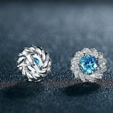Blue Zircon Cubic Zirconia Flower Stud Silver Color Earrings - Earrings - LoxLux Jewelry