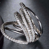 Cubic Zirconia Micro Pave Multi Strand Stackable Ring - Ring - LoxLux Jewelry