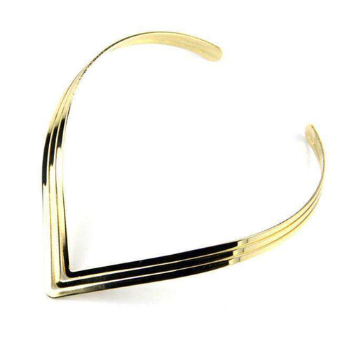3 Layer Bright Metal Gold / Silver Color Torque Collar Choker Necklace - necklace - LoxLux Jewelry