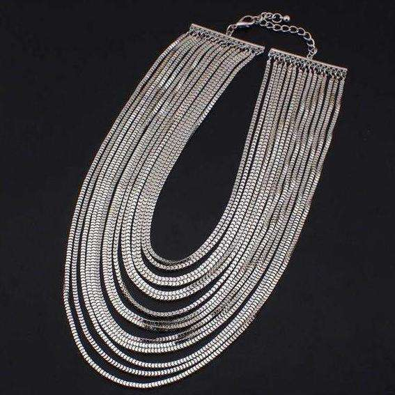 Multilayer Chain Wide Pendant Bib Choker Necklace - necklace - LoxLux Jewelry