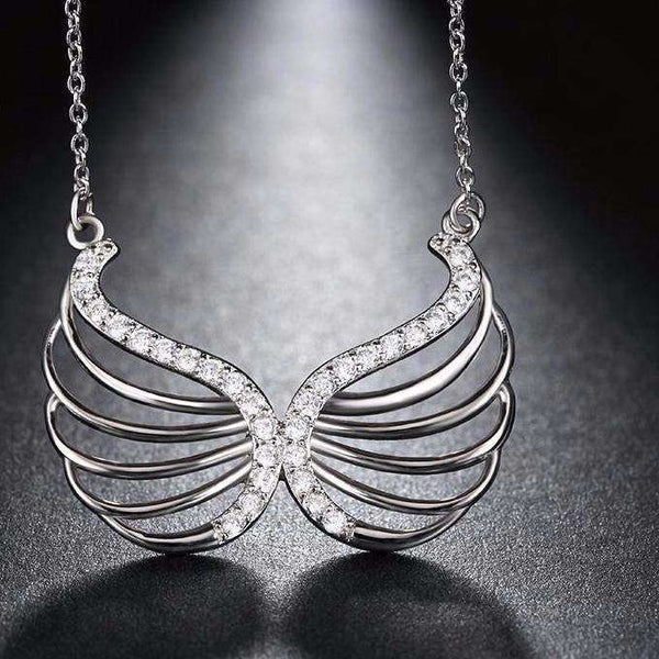 Cubic Zirconia Angel Wings Pendant Necklace - necklace - LoxLux Jewelry