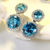 Aquamarine Blue Zircon Cubic Zirconia Round Drop Earrings - Earrings - LoxLux Jewelry