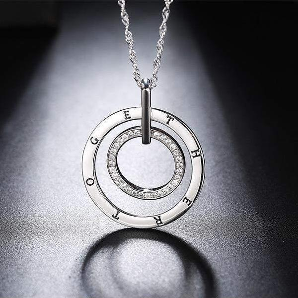 Cubic Zirconia Silver Color Love Message Pendant Necklace - necklace - LoxLux Jewelry