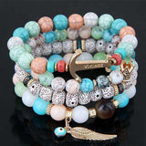 4Pcs/Set Multilayer Beach Boho Natural Stone Bead Bracelet - BRACELET - LoxLux Jewelry
