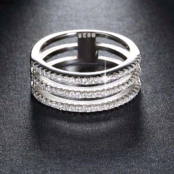 Cubic Zirconia 3 Rows Stackable Ring - Ring - LoxLux Jewelry