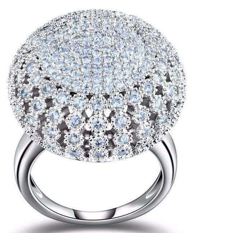 Cubic Zirconia Full Pave Round Vintage Style Ring - Ring - LoxLux Jewelry