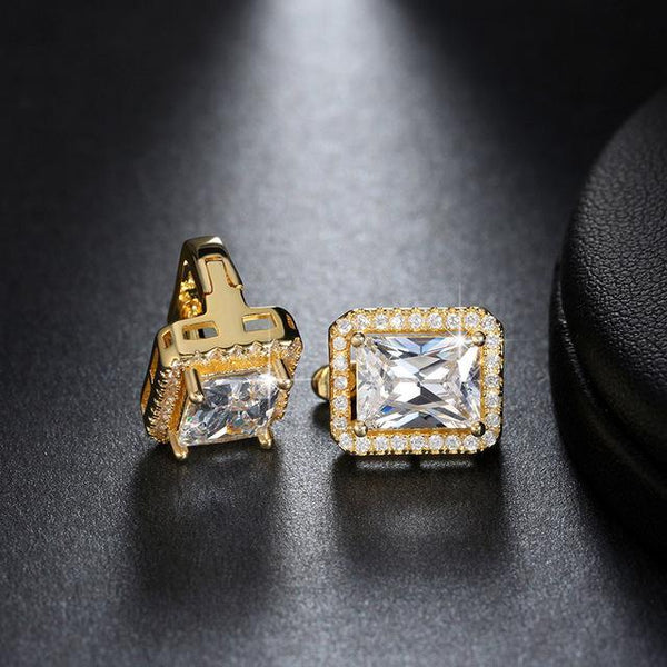 Cubic Zirconia 2ct Square Stud Earrings - Earrings - LoxLux Jewelry