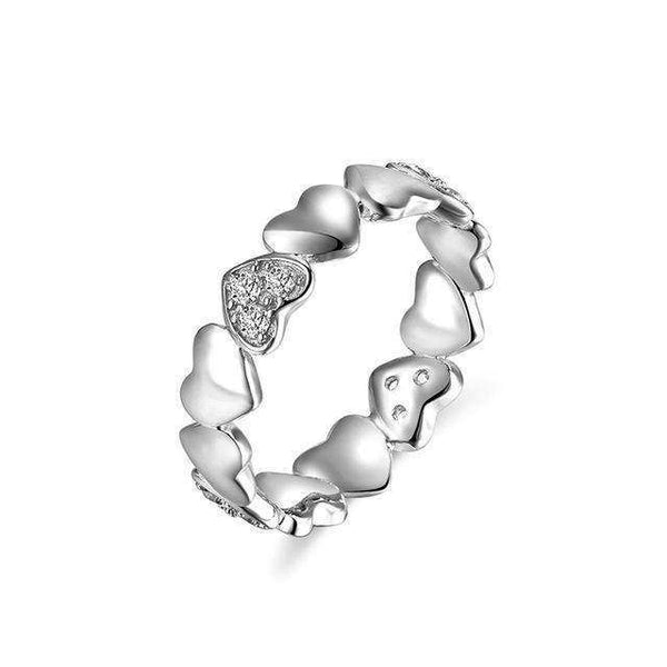 Cubic Zirconia Dazzling Heart Shape Stackable Ring - Ring - LoxLux Jewelry