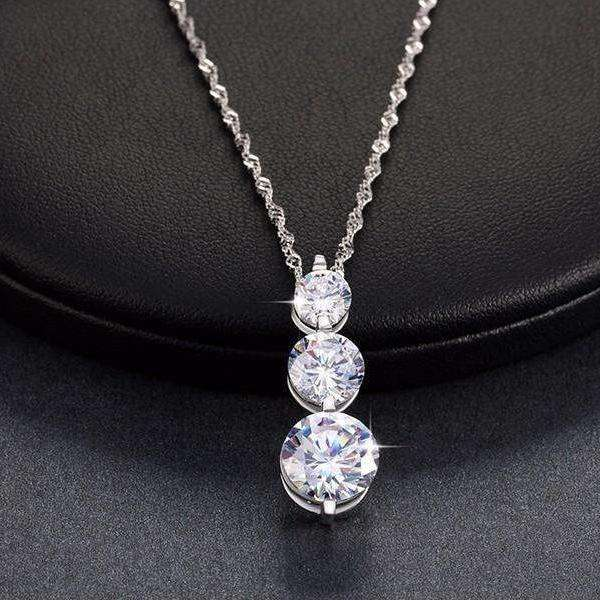 Cubic Zirconia 3 Piece Stud Drop Pendant Necklace - necklace - LoxLux Jewelry