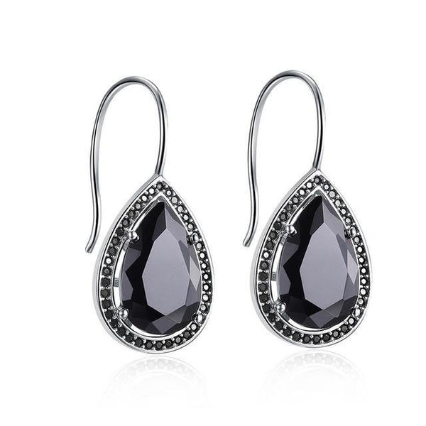 Cubic Zirconia Black or Crystal Silver Water Drop Earrings - Earrings - LoxLux Jewelry