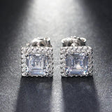 Cubic Zirconia 1ct Austrian Silver 925 Solid Square Halo Earrings - Earrings - LoxLux Jewelry
