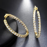 Cubic Zirconia Gold / Silver/ Rose Gold Polished Hoop Earrings - Earrings - LoxLux Jewelry