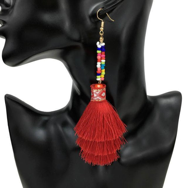 Boho Beaded Layer Tassel Long Drop Earrings - Earrings - LoxLux Jewelry
