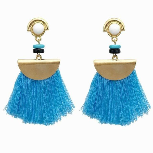 Boho Fringe Drop Tassel Earrings - Earrings - LoxLux Jewelry