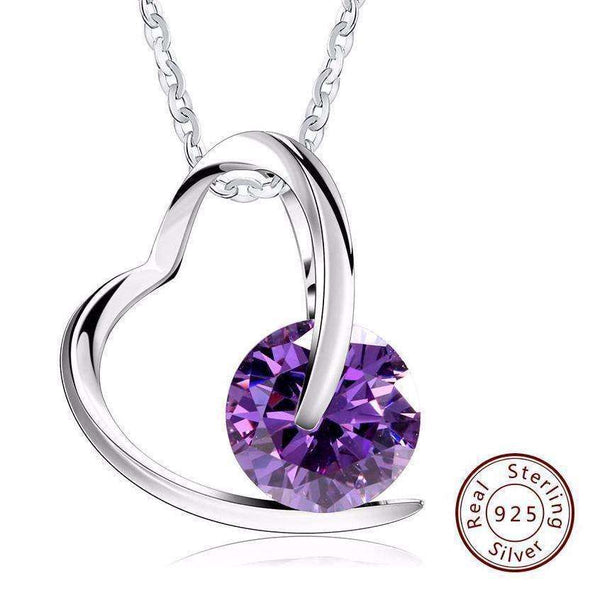 Cubic Zirconia Crystal Heart Pendant Necklace - necklace - LoxLux Jewelry
