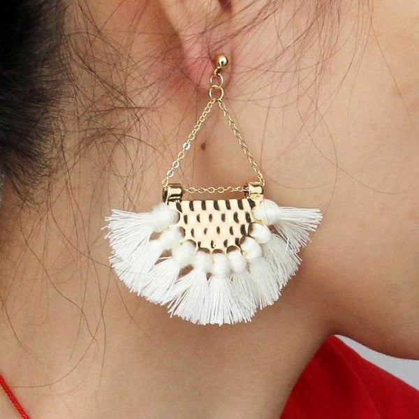 Boho Dangle Fringe Tassel Earrings - Earrings - LoxLux Jewelry