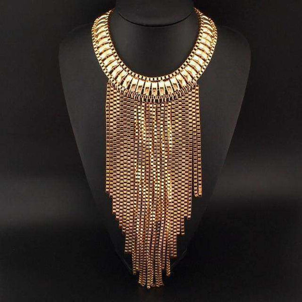 Fashion Maxi Long Chain Gold / Silver Color Tassel Necklace - necklace - LoxLux Jewelry
