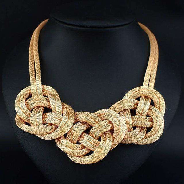 Chunky Alloy Chain Knot Necklace - necklace - LoxLux Jewelry