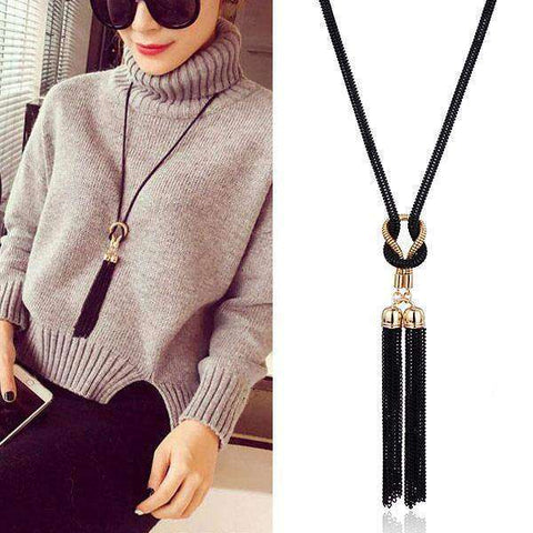 Alloy Long Chain Black Tassel Necklace - necklace - LoxLux Jewelry