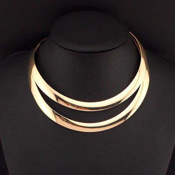 Alloy Zinc Collar Torque Choker Necklace - necklace - LoxLux Jewelry