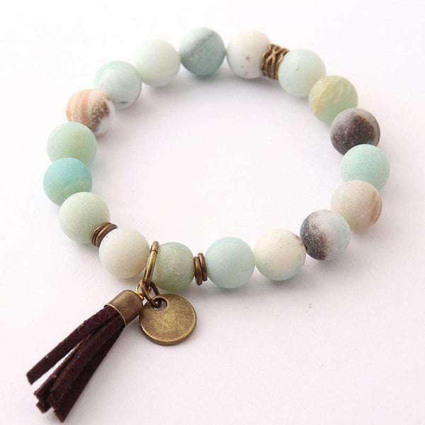 Antique Bronze Natural Stone Amazonite 10mm Energy Bracelet - BRACELET - LoxLux Jewelry