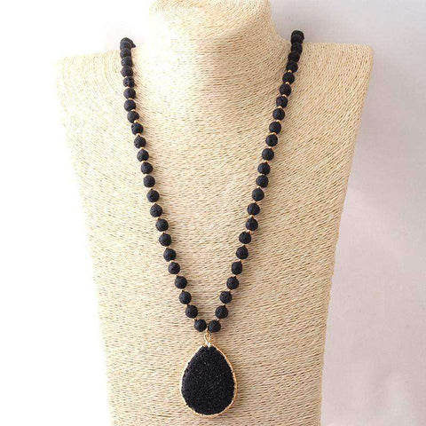 Black Lava Stone Boho Pendant Necklace - necklace - LoxLux Jewelry